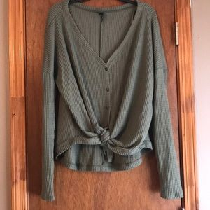 Army green waffle knit top